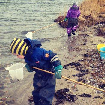 Strandliv ved gaarden børn